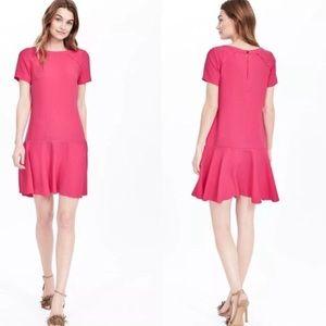 Banana Republic Pink Short Sleeve Flounce Dress